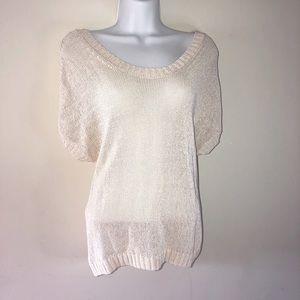 COUNTRY ROAD short sleeve loose knit cream tshirt